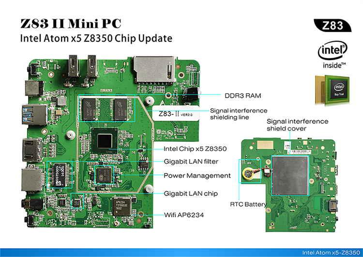 Z83 II Intel Atom x5-Z8350 Processor Smart Mini PC server Windos10
