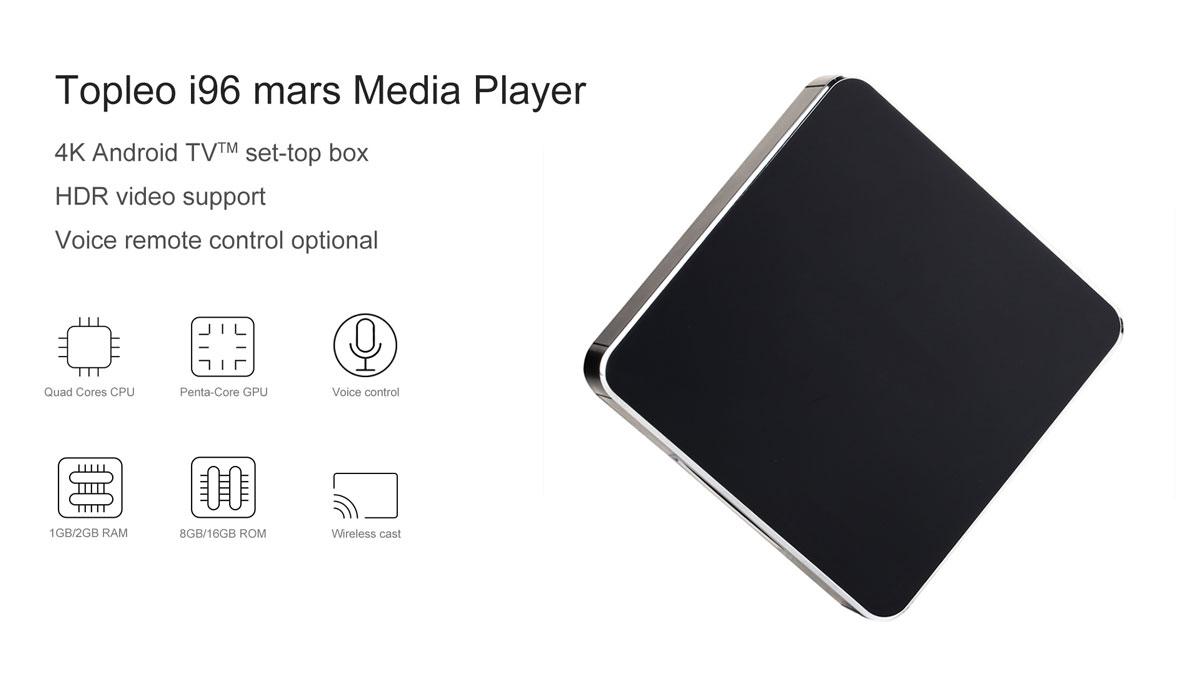 i96 mars Allwinner H3 Imitation metal shell android tv box - top